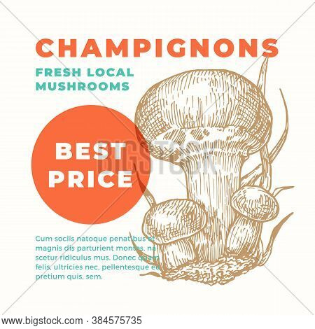 Champignons Abstract Vector Sign Template. Hand Drawn Mushrooms Sillhouette With Modern Typography C
