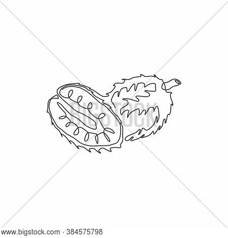 One Continuous Line Drawing Whole And Sliced Healthy Organic Soursop For Orchard Logo Identity. Exot