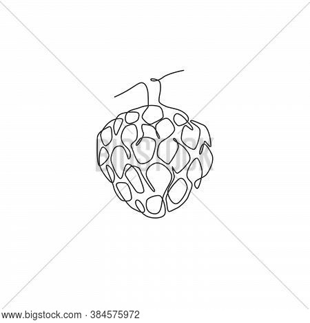 Single Continuous Line Drawing Of Whole Healthy Organic Fruit Sugar For Orchard Logo Identity. Fresh