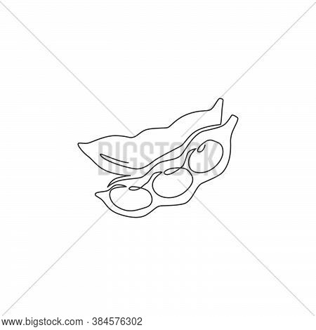 Single Continuous Line Drawing Of Whole Healthy Organic Green Edamame For Farm Logo Identity. Fresh