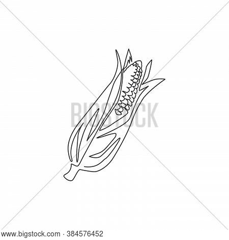 One Single Line Drawing Of Whole Healthy Organic Corn Crop For Farm Logo Identity. Fresh Maize Conce