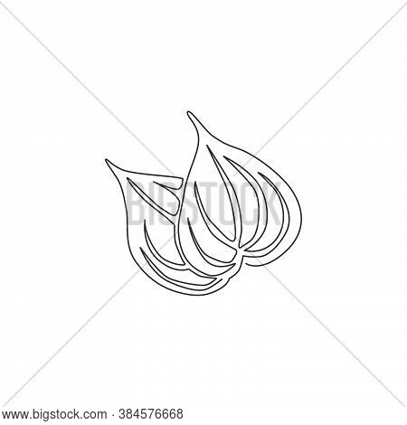 Single Continuous Line Drawing Of Heap Healthy Organic Betel Leaf For Farm Logo Identity. Mouth Fres
