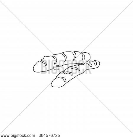 Single Continuous Line Drawing Of Whole Healthy Organic Turmeric For Logo Identity. Fresh Flowering