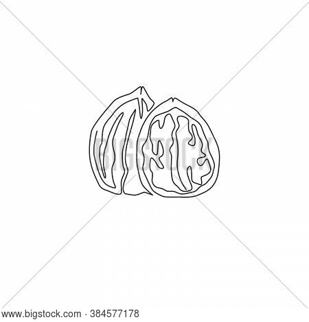 One Continuous Line Drawing Of Whole Healthy Organic Walnut Food For Plantation Logo Identity. Fresh