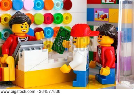 Tambov, Russian Federation - June 06, 2020 Children Buying Lego At A Lego Store.