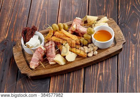 appetizers on the wooden background
