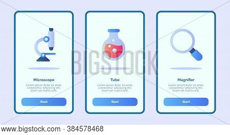 Medical Icon Microscope Tube Magnifier For Mobile Apps Template Banner Page Ui With Three Variations