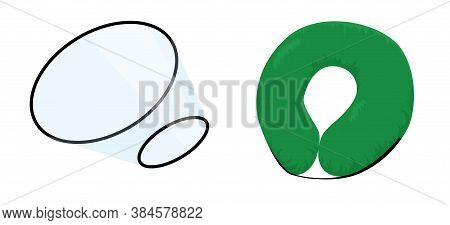 Dog Cone, Elizabethan Collar Plastic And Soft Isolated On White. Protection For Pets After Surgery V