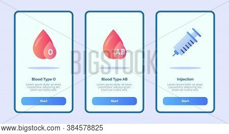 Medical Icon Blood Type O Blood Type Ab Injection For Mobile Apps Template Banner Page Ui With Three