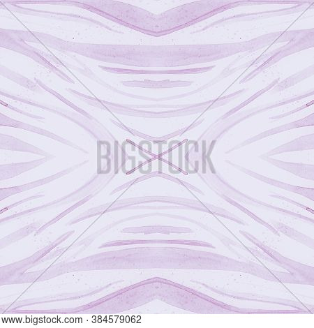 White Zebra Print. Watercolor Safari Fur Texture. Pink Fashion Tiger Background. Wild Stripe Design.