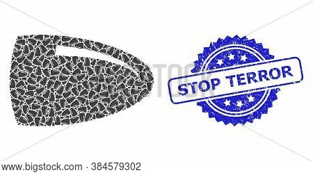Stop Terror Rubber Seal Imitation And Vector Recursive Mosaic Bullet. Blue Stamp Seal Contains Stop