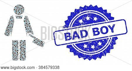 Bad Boy Rubber Stamp And Vector Recursive Collage Butcher Person. Blue Stamp Seal Has Bad Boy Captio