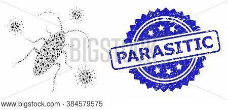 Parasitic Corroded Stamp Seal And Vector Fractal Mosaic Cockroach Infection. Blue Stamp Seal Include