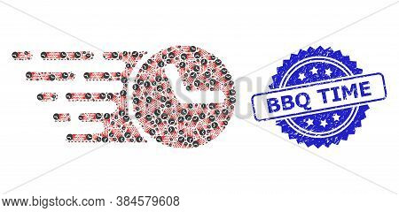 Bbq Time Dirty Stamp And Vector Recursive Composition Clock. Blue Stamp Seal Includes Bbq Time Text