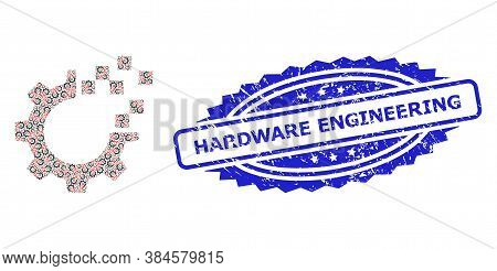 Hardware Engineering Unclean Stamp And Vector Fractal Collage Auto Gear Repair. Blue Stamp Seal Incl