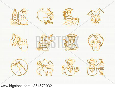 Colombia Coffee Single Origin Line Icon Design With Woman Pick Fruits,lama Eat Coffee Fruits,uncle W