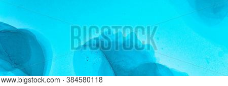 Abstract Teal Wallpaper. Alcohol Ink Landscape. Blue Ocean Art Texture. Sophisticated Flow Paint. Ab