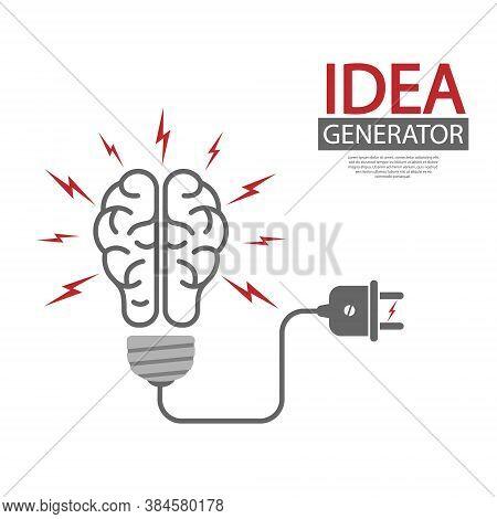 Idea Generator. The Human Brain And The Light Bulb. Editable Vector Illustration For Website, Bookle