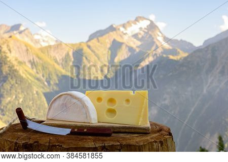 Cheese Collection, French Reblochon And Emmental De Savoie Cheese Served Outdoor In Savoy Region, Wi