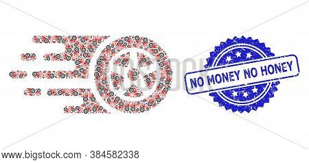 No Money No Honey Corroded Stamp Seal And Vector Fractal Composition Car Wheel. Blue Stamp Seal Incl