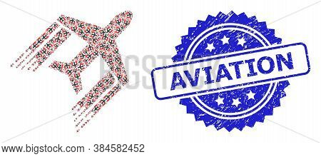Aviation Scratched Seal Imitation And Vector Recursive Mosaic Aviation. Blue Seal Includes Aviation