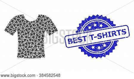 Best T-shirts Scratched Stamp Seal And Vector Recursive Mosaic Dirty T-shirt. Blue Seal Has Best T-s