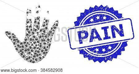 Pain Rubber Seal And Vector Recursive Mosaic Destructed Hand. Blue Seal Contains Pain Tag Inside Ros