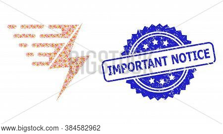 Important Notice Dirty Seal Print And Vector Recursive Mosaic Electric Power. Blue Stamp Contains Im