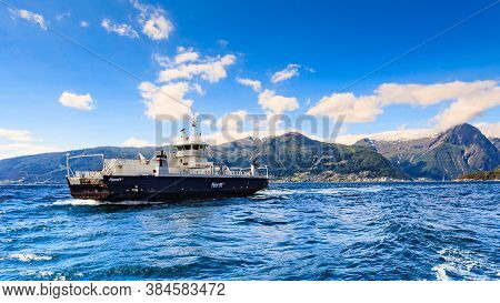 Vangsnes, Norway - July 5, 2018: The Ferry Vagsoy Operated By Fjord1 On Sognefjord, Route Vangsnes-d