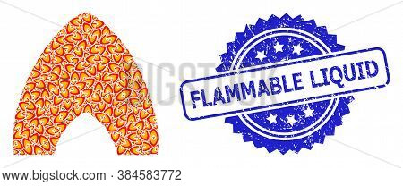 Flammable Liquid Unclean Stamp Seal And Vector Fractal Mosaic Fire Flame. Blue Stamp Includes Flamma