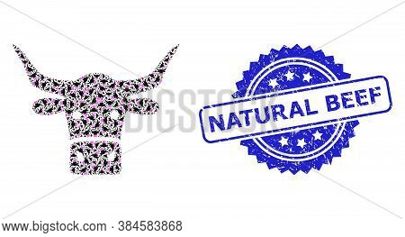 Natural Beef Corroded Seal And Vector Recursive Mosaic Beef Head. Blue Seal Has Natural Beef Tag Ins