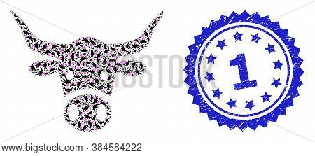 1 Dirty Watermark And Vector Recursive Mosaic Cow Head. Blue Stamp Seal Contains 1 Title Inside Rose