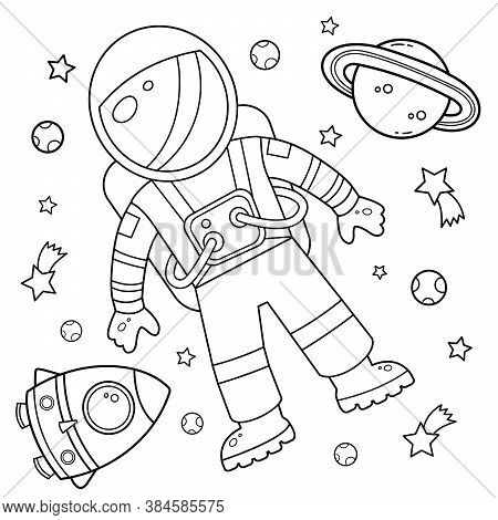 Coloring Page Outline Of A Cartoon Rocket With Astronaut In Space. Coloring Book For Kids.