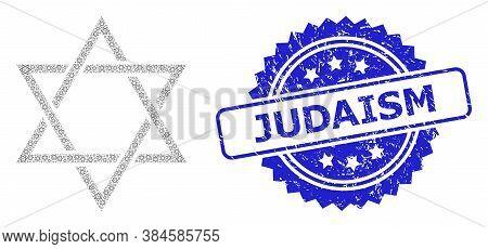 Judaism Scratched Seal Print And Vector Recursive Mosaic David Star. Blue Seal Has Judaism Tag Insid