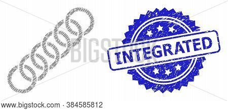 Integrated Scratched Stamp Seal And Vector Fractal Collage Circle Chain. Blue Stamp Seal Has Integra