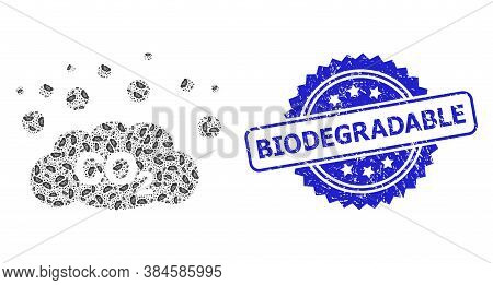 Biodegradable Dirty Seal And Vector Recursive Mosaic Co2 Gas Emission. Blue Seal Includes Biodegrada