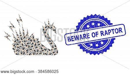 Beware Of Raptor Grunge Stamp Seal And Vector Fractal Mosaic Black Danger Swan. Blue Stamp Seal Has