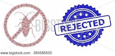 Rejected Grunge Stamp Seal And Vector Fractal Mosaic Forbidden Cockroach. Blue Stamp Seal Contains R