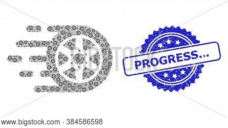 Progress... Textured Stamp Seal And Vector Fractal Composition Car Wheel. Blue Stamp Seal Has Progre