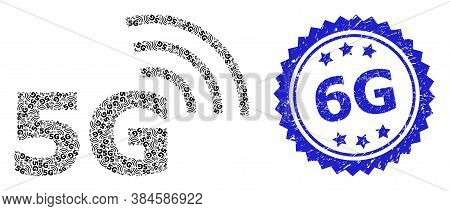 5g Dirty Stamp Seal And Vector Recursion Mosaic 5g Symbol. Blue Seal Has 5g Tag Inside Rosette. Vect