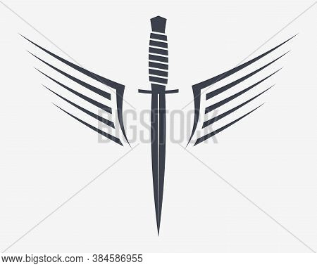 Dagger With Wings. Winget Military Combat Knife. Simple Silhouette That Can Be Integrated Into Any O