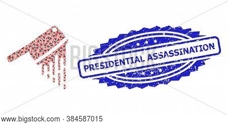 Presidential Assassination Rubber Stamp Seal And Vector Recursion Collage Blood Butchery Knife. Blue