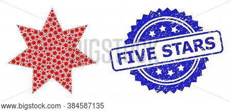 Five Stars Textured Seal Print And Vector Recursive Collage Eight Corner Star. Blue Seal Includes Fi