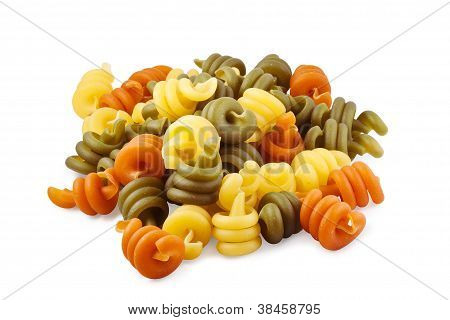 Trottole Triccolore Pasta Isolated On White With Clipping Path