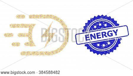Energy Corroded Seal And Vector Recursion Mosaic Electric Voltage. Blue Stamp Seal Has Energy Title