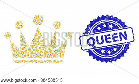 Queen Unclean Seal And Vector Recursive Collage Crown. Blue Seal Includes Queen Caption Inside Roset