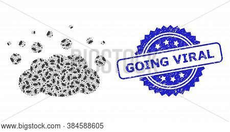 Going Viral Scratched Stamp Seal And Vector Recursive Composition Cloud Emission. Blue Stamp Seal Co