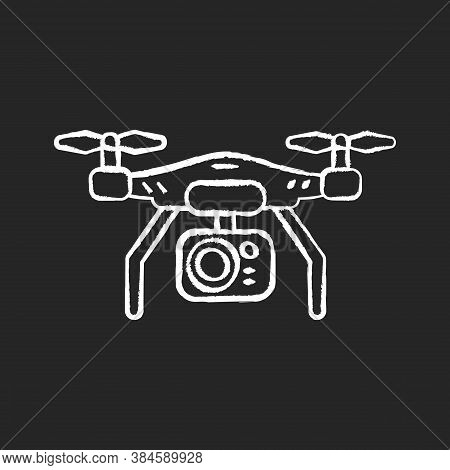 Drone Camera Chalk White Icon On Black Background. Mobile Helicopter To Shoot Panoramic Frame. Flyin