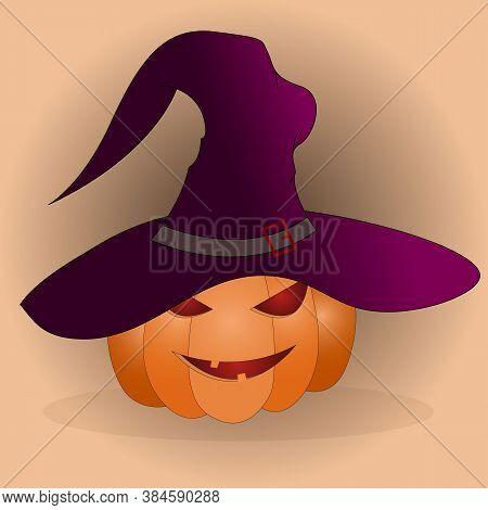 Halloween Pumpkin Head Isolated. Pumpkin Head Vector Icon In Flat Style. Scary Halloween Cartoon Pum