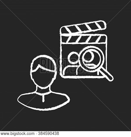Casting Director Chalk White Icon On Black Background. Producer For Filmmaking. Cinema Production Pe